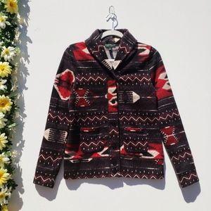 Ralph Lauren Black Aztec Button Up Collar Sweater